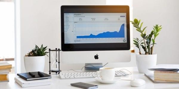 A desktop showing growing line graph