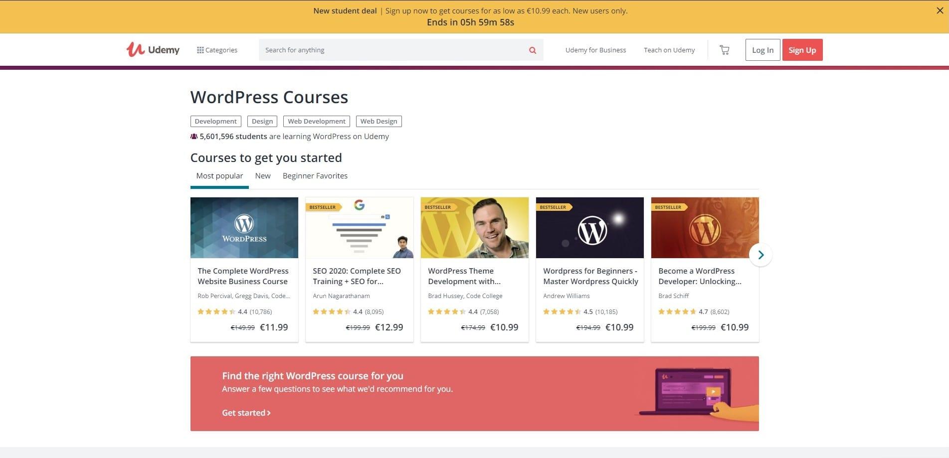 Learn WordPress with Udemy