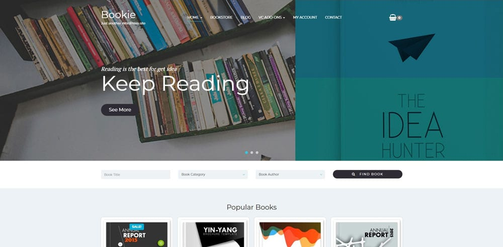 Bookie Theme, Best WooCommerce themes, online books shops, WordPress Maintenance, wpaos