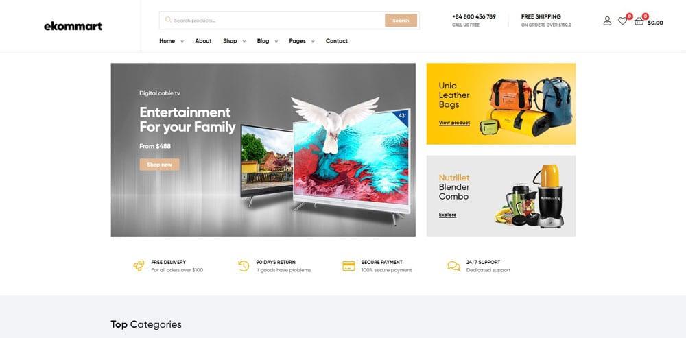 Ekommart Theme, Best WooCommerce themes, Electronics Shop, WordPress Maintenance, wpaos