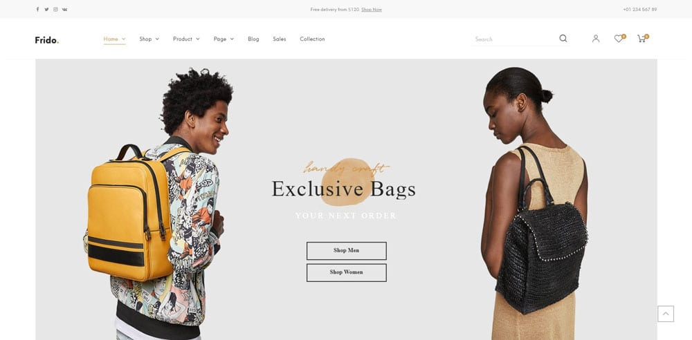 Frido Theme, Best WooCommerce themes, Bags Accessories Shops, WordPress Maintenance, wpaos