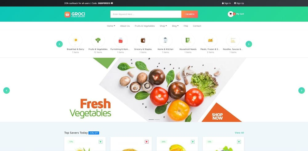 Groci Theme, Best WooCommerce themes, online food shops, WordPress Maintenance, wpaos
