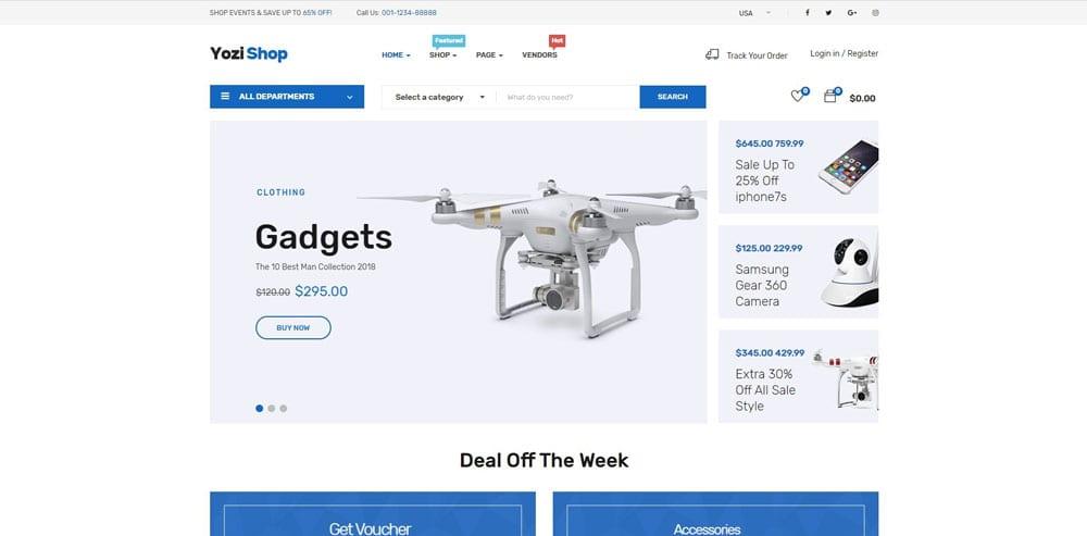 Yozi Shop Theme, Best WooCommerce themes, Electronics Shop, WordPress Maintenance, wpaos