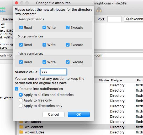Incorrect File Permissions Error in WordPress