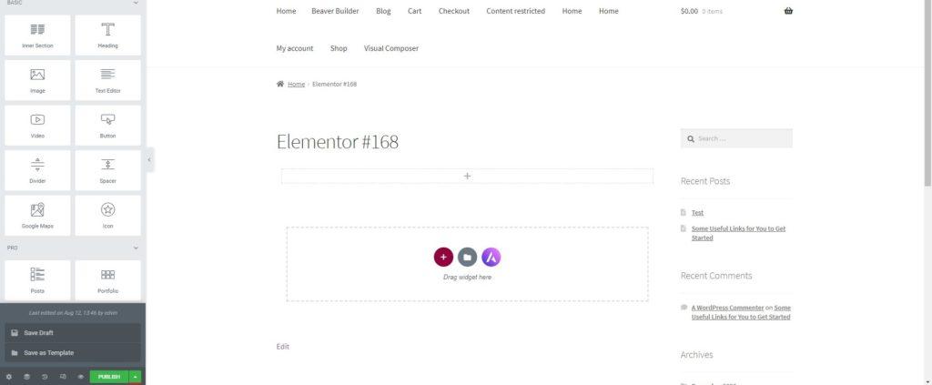 export template Elementor
